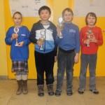 Siegerehrung U10: Sonja Kukulina (Bestes Mädchen), Julian Shen (2.), Ruben Mantel (1.) und Lorenz Schilay (3.)