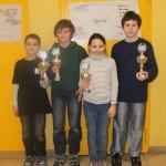 Siegerehrung U12: Adrian Siegl (3.), Cédric Oberhofer (1.), Eva Schilay (Bestes Mädchen) und Dennis Gauer (2.)