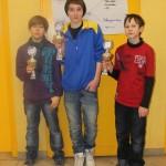 Siegerehrung U14: Thomas Hollmann (3.), Kirill Myagkov (1.) und Valentin Krasotin (2.)