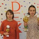 Siegerehrung U12: Lorenz Schilay (1.) und Sonja Kukulina (München Südost/2.)