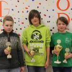 Siegerehrung U14: Maximilian Haas (Erlangen/2.), Pablo Wolf (Bamberg/1.) und Katja Fromm (Muldental Wilkau-Haßlau/3.)