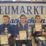Siegerehrung U16: Sebastian Hoffmann (NT Nürnberg/2.), Cornelius Mühlich (SK Kelheim 1920/1.) und Pascal Eichenauer (SV Würzburg/3.)