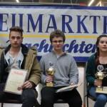 Siegerehrung U16: Sebastian Hoffmann (SC NT Nürnberg/3.), Maximilian Haas (SC Erlangen/1.) und Sarah Hausmann (MTV Ingolstadt/2.)