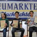 Siegerehrung U14: Lorenz Schilay (3.), Dominik Köhler (SC Bamberg/1.) und Tristan Stohl (SK Schwabach/2.)